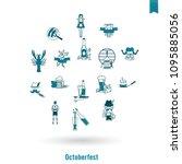 oktoberfest beer festival. flat ... | Shutterstock .eps vector #1095885056
