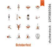 oktoberfest beer festival. flat ... | Shutterstock .eps vector #1095885086