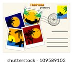 travel postcard with tropical... | Shutterstock .eps vector #109589102