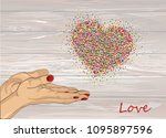 from open palms fly multi... | Shutterstock .eps vector #1095897596