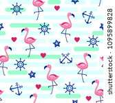 seamless pattern with flamingos ... | Shutterstock .eps vector #1095899828