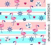 seamless pattern with flamingos ... | Shutterstock .eps vector #1095900245