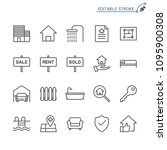 real estate line icons.... | Shutterstock .eps vector #1095900308