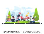 people in green park using... | Shutterstock .eps vector #1095902198