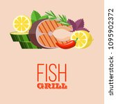 grilled fish. delicious grilled ... | Shutterstock .eps vector #1095902372