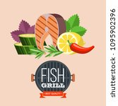 grilled fish. delicious grilled ... | Shutterstock .eps vector #1095902396