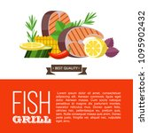 grilled fish. delicious grilled ... | Shutterstock .eps vector #1095902432