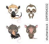 xenarthra family set   anteater ... | Shutterstock .eps vector #1095904232
