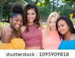 group of female friends of all... | Shutterstock . vector #1095909818