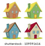 set of four houses with color...