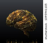 human brain. low poly wireframe ... | Shutterstock .eps vector #1095941105