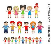 children hold hands. vector... | Shutterstock .eps vector #1095951245