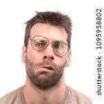 Small photo of Goofy man with broken vintage glasses - Isolated on white