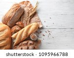 different bakery products on... | Shutterstock . vector #1095966788