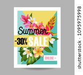 summer sale tropical banner.... | Shutterstock .eps vector #1095975998