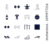 gym icon. collection of 16 gym... | Shutterstock .eps vector #1095977216