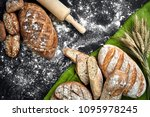different bread with flour and... | Shutterstock . vector #1095978245