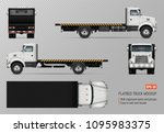 flatbed truck vector mockup.... | Shutterstock .eps vector #1095983375