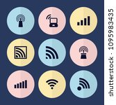 set of 9 wi filled icons such... | Shutterstock .eps vector #1095983435