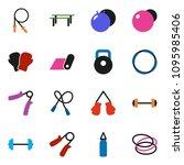 solid vector ixon set   barbell ... | Shutterstock .eps vector #1095985406