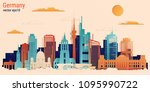 germany colorful paper cut...   Shutterstock .eps vector #1095990722