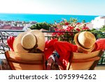 happy couple relax on balcony... | Shutterstock . vector #1095994262