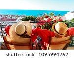 happy couple relax on balcony... | Shutterstock . vector #1095994262