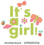 baby girl announcement card | Shutterstock .eps vector #109600256