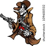 Skeleton Cowboy  With Skull An...