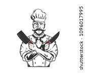 chef silhouette hand drawn... | Shutterstock .eps vector #1096017995