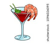 shrimp cocktail with glass pop... | Shutterstock .eps vector #1096026095
