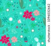 floral vector seamless pattern  | Shutterstock .eps vector #1096032662