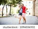 couple taking selfie together... | Shutterstock . vector #1096036532