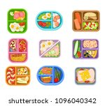 flat vector set of lunch boxes... | Shutterstock .eps vector #1096040342