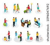 isometric pregnancy set with... | Shutterstock .eps vector #1096047692