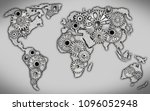 earth map icon and tooth wheel... | Shutterstock . vector #1096052948