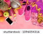 different fitness objects on... | Shutterstock . vector #1096054316