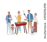 barbecue party with family.... | Shutterstock .eps vector #1096056398