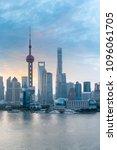 shanghai cityscape closeup in... | Shutterstock . vector #1096061705