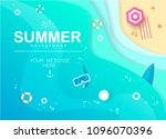 top view beach background with... | Shutterstock .eps vector #1096070396