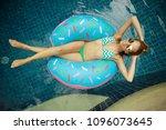 inflatable pool girl hotel girl ... | Shutterstock . vector #1096073645