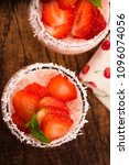a serving of strawberry over... | Shutterstock . vector #1096074056