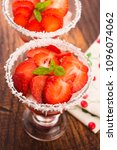 a serving of strawberry over... | Shutterstock . vector #1096074062