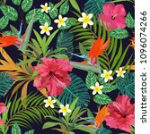 tropical leaves and flowers... | Shutterstock . vector #1096074266