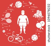 fat boy  badminton rackets and... | Shutterstock .eps vector #1096078232