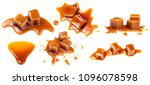 flowing caramel sauce isolated... | Shutterstock . vector #1096078598