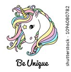 white cute unicorn vector head... | Shutterstock .eps vector #1096080782