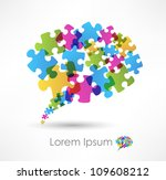 speech bubble made from puzzle | Shutterstock .eps vector #109608212