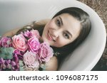 beautiful woman with rose... | Shutterstock . vector #1096087175