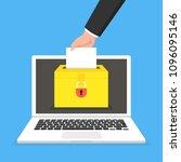 voting online concept. hand... | Shutterstock .eps vector #1096095146